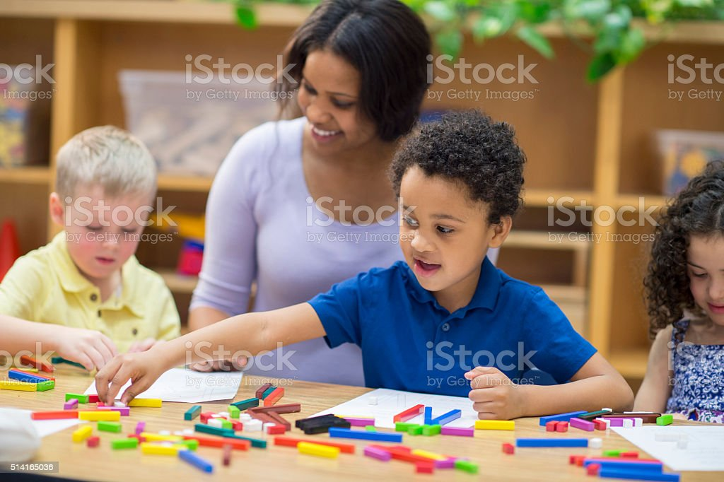 Enjoying a Arts and Crafts Project stock photo