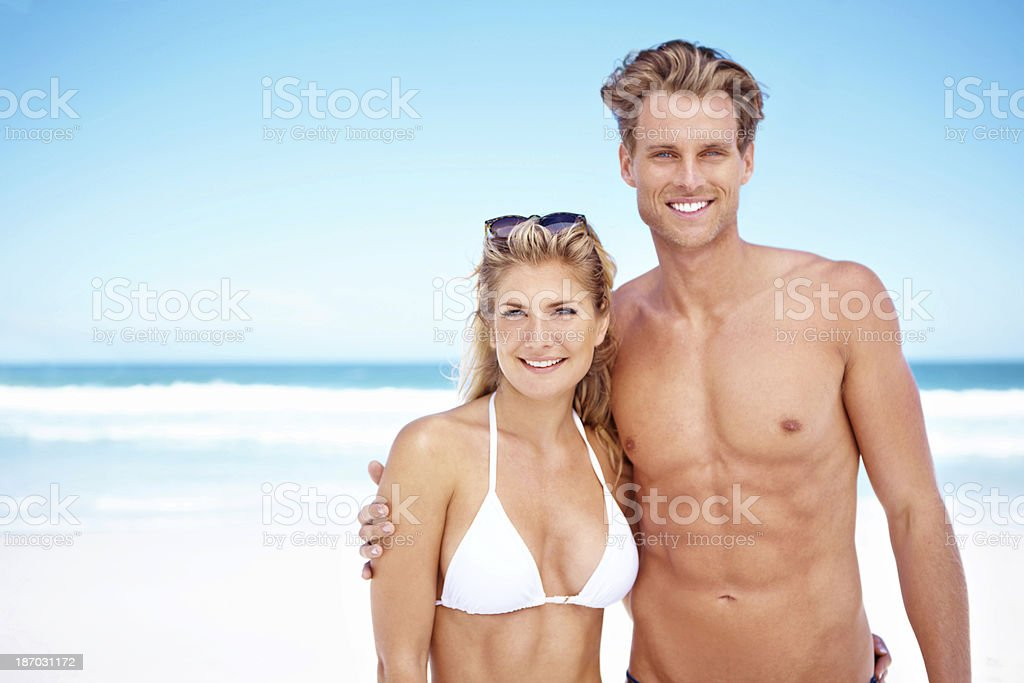 Enjoying a beach date royalty-free stock photo