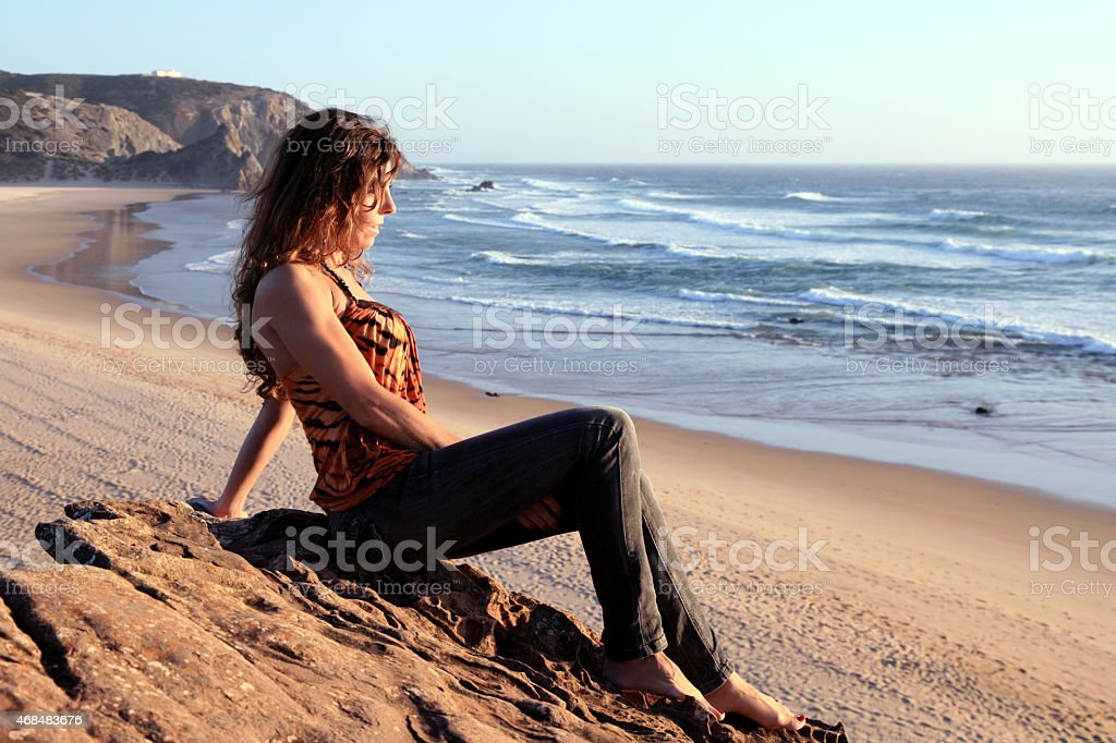Enjoying a beautiful beach stock photo
