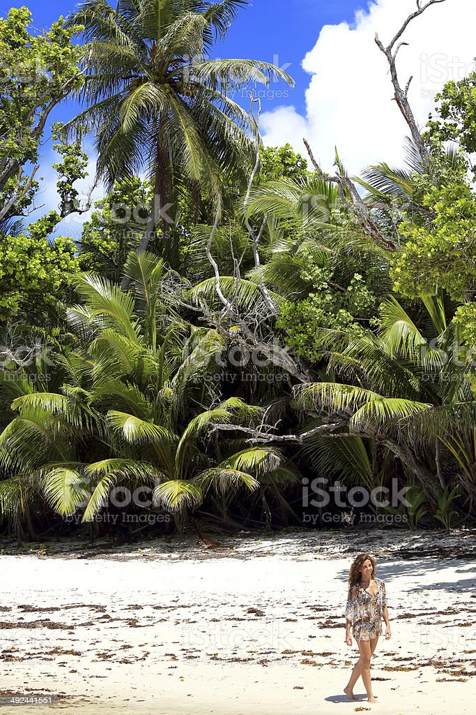 Enjoying a beautiful beach stock photo