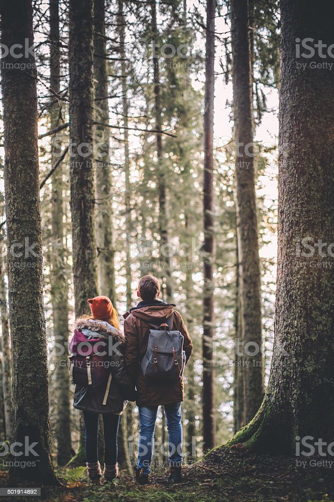 Enjoying a beautiful hike stock photo