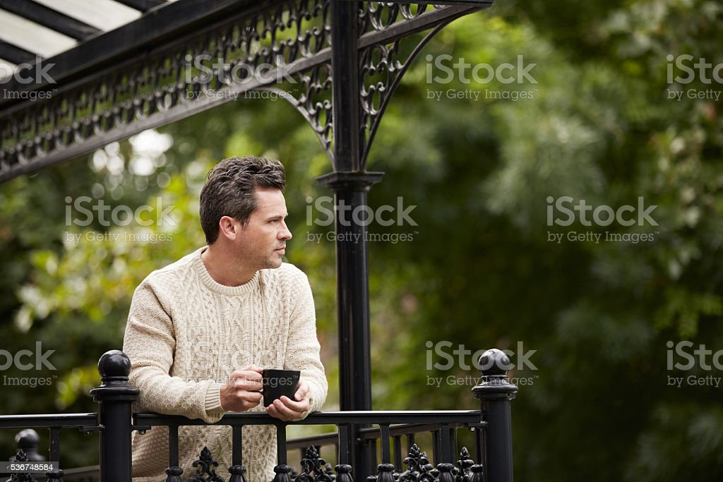 Enjoying a coffee and the view stock photo