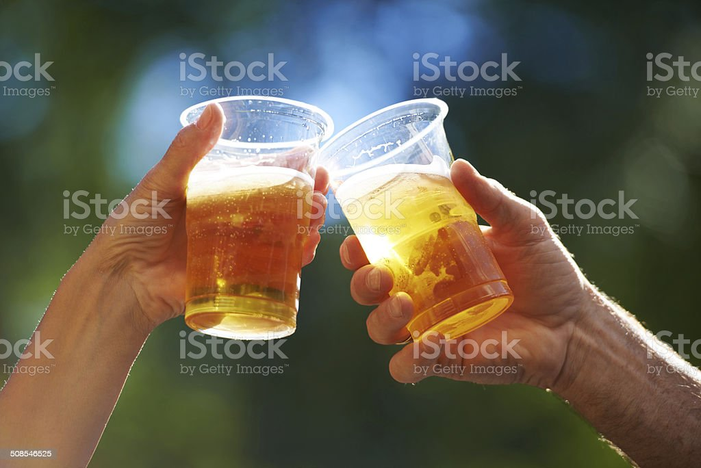 Enjoying a cold one! stock photo