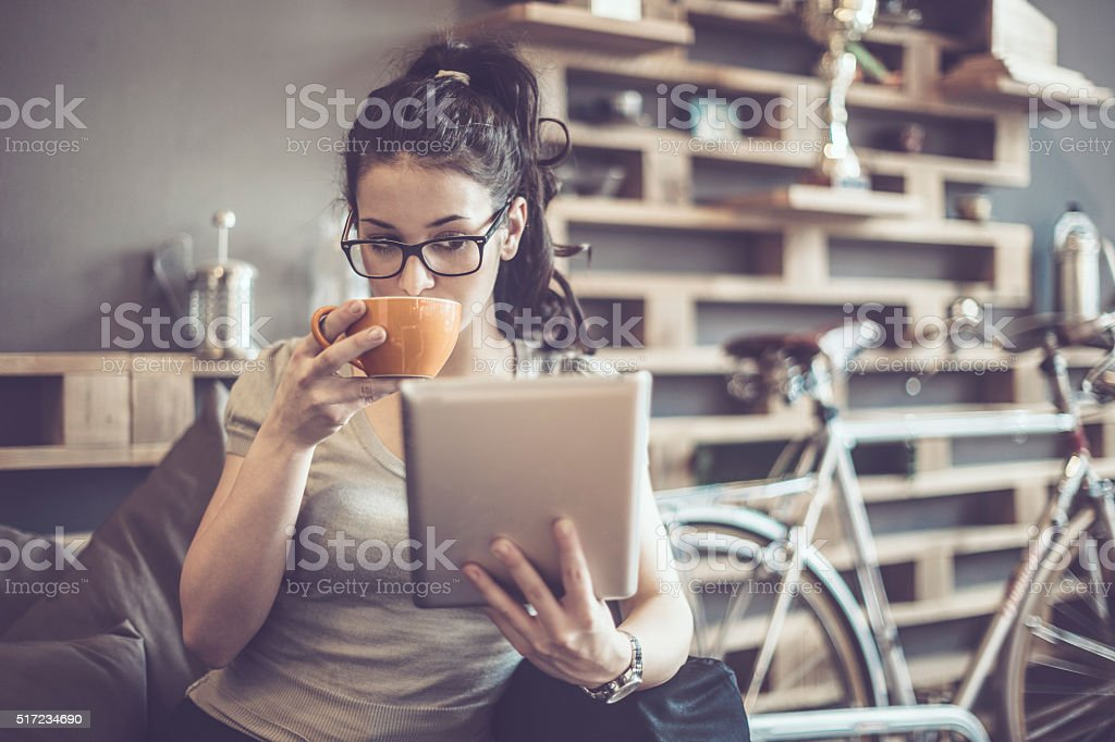 Enjoying a cup of coffe stock photo