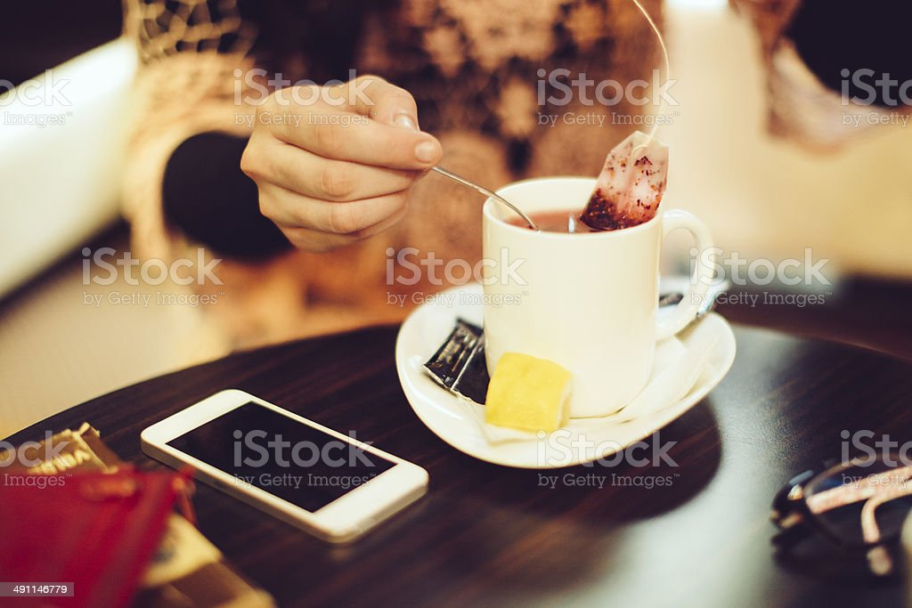 Enjoying a cup of tea stock photo