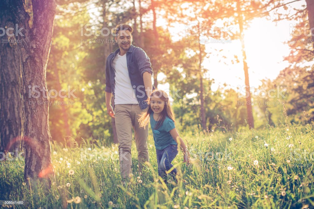 Enjoying a daddy daughter day stock photo