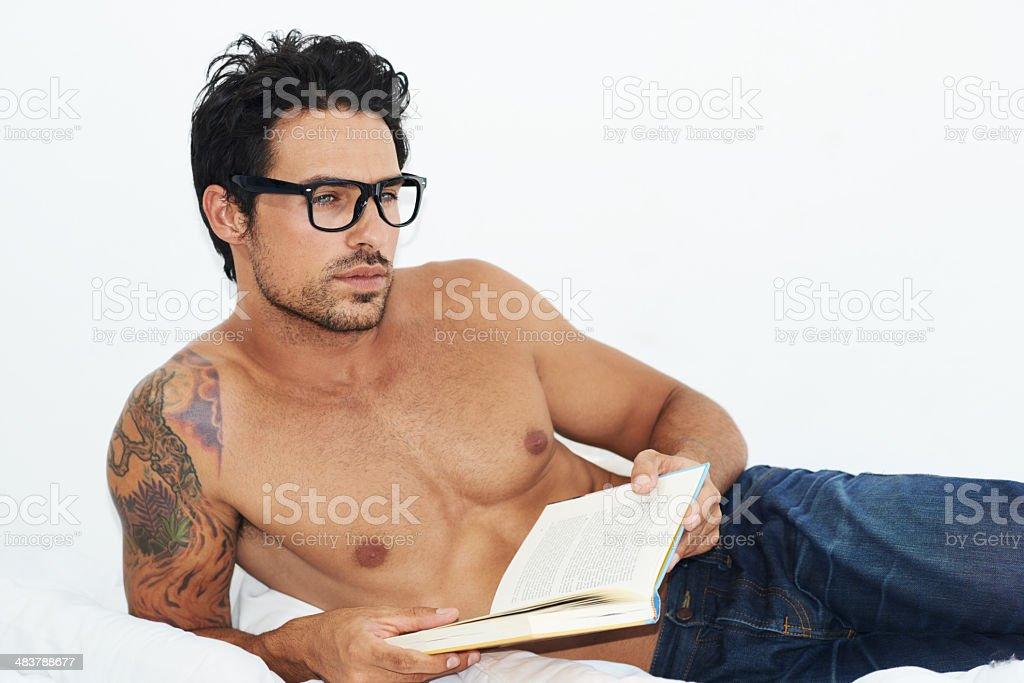 Enjoying a deep read... stock photo