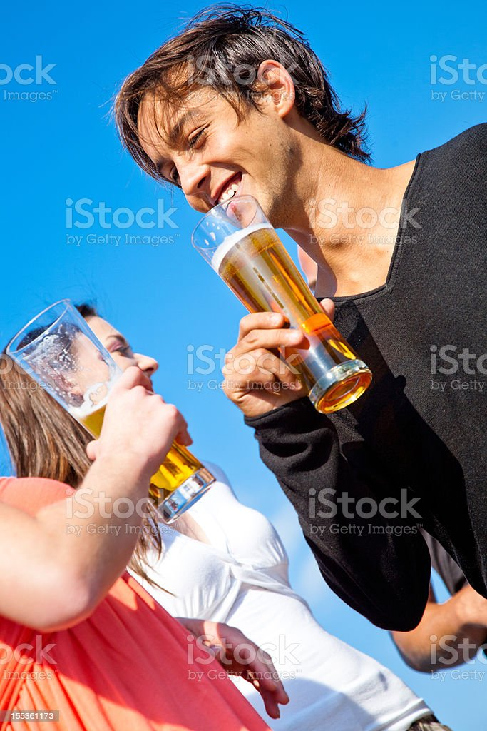Enjoying a drink outdoors royalty-free stock photo