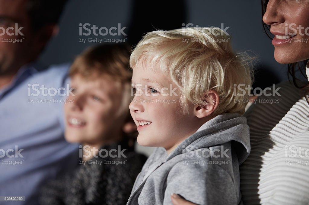 Enjoying a family tv night stock photo
