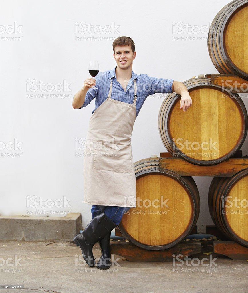 Enjoying a fine red wine royalty-free stock photo