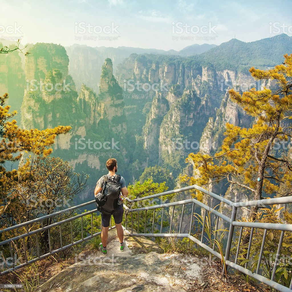 enjoying a gorgeous view stock photo