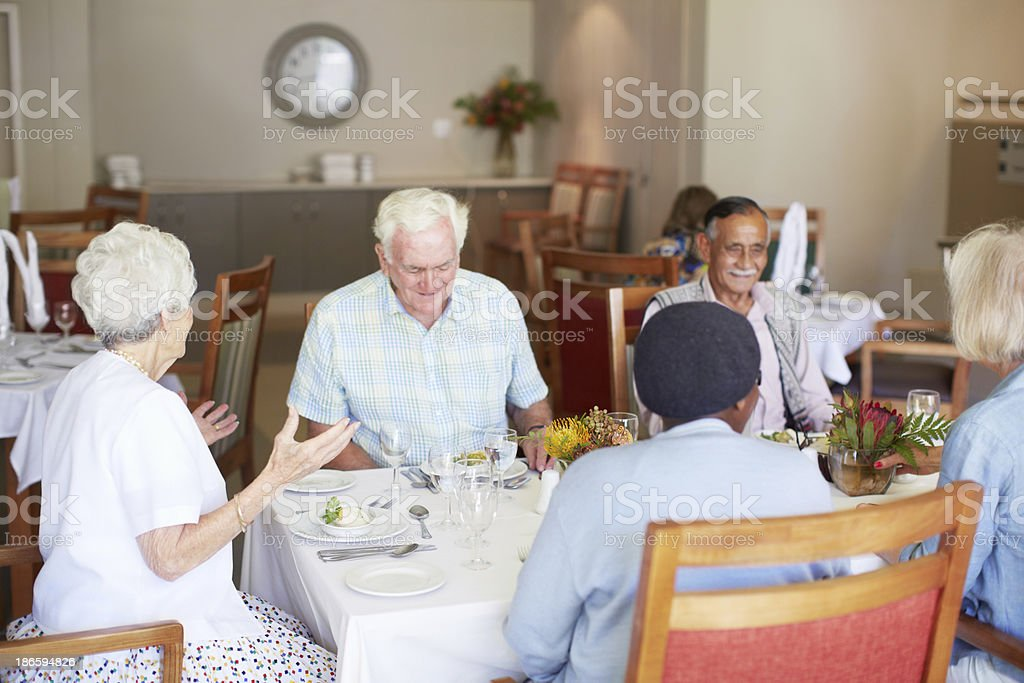 Enjoying a group lunch date royalty-free stock photo