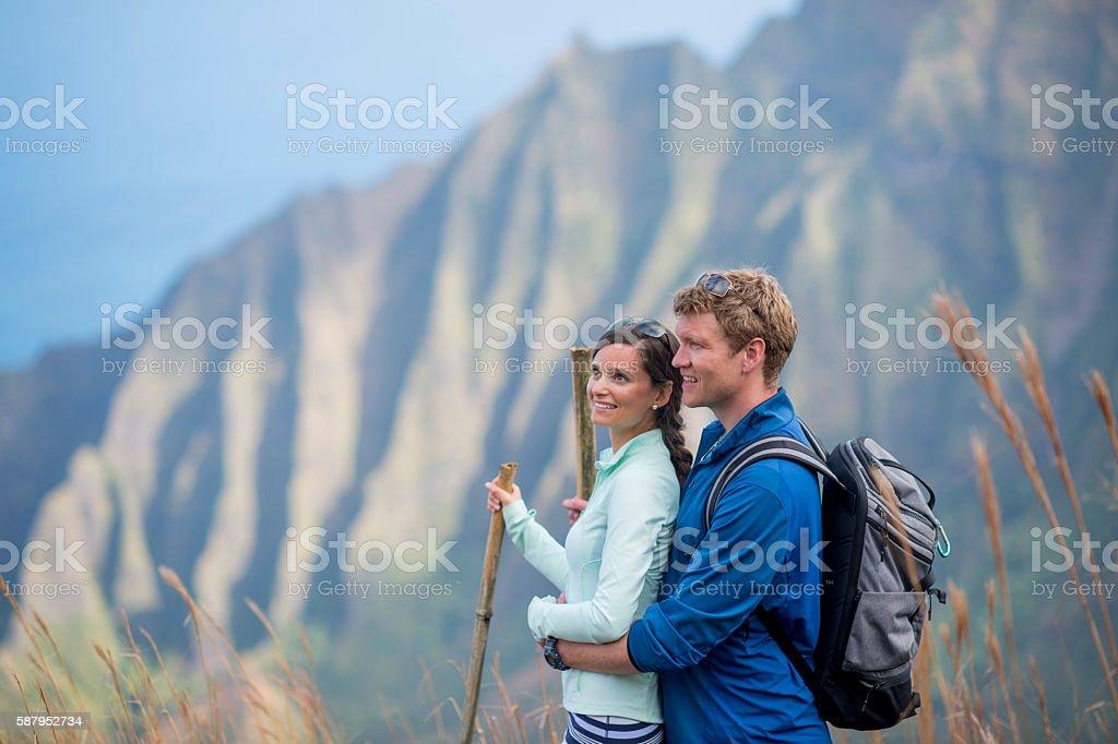 Enjoying a Hike on Their Honeymoon stock photo