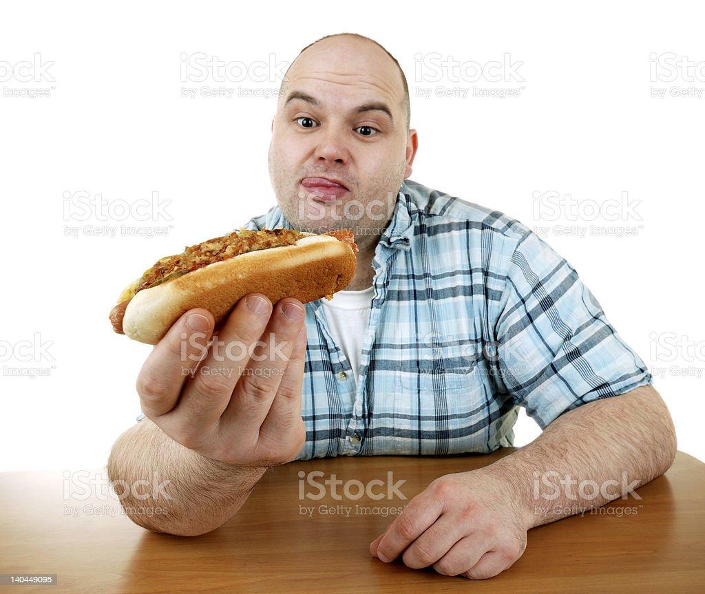 enjoying a hot dog royalty-free stock photo