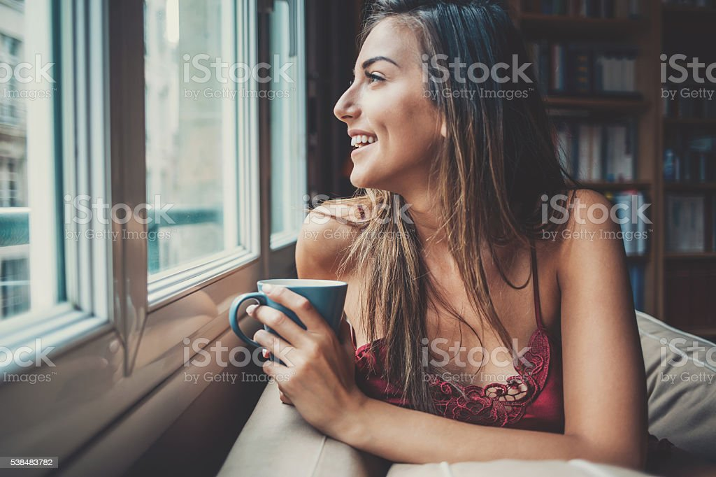 Enjoying a hot drink in the morning stock photo