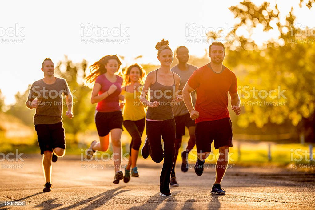 Enjoying a Leisure Group Run stock photo