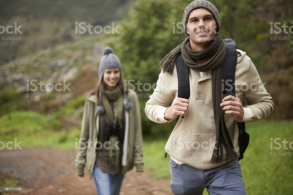 Enjoying a leisurely winter hike stock photo
