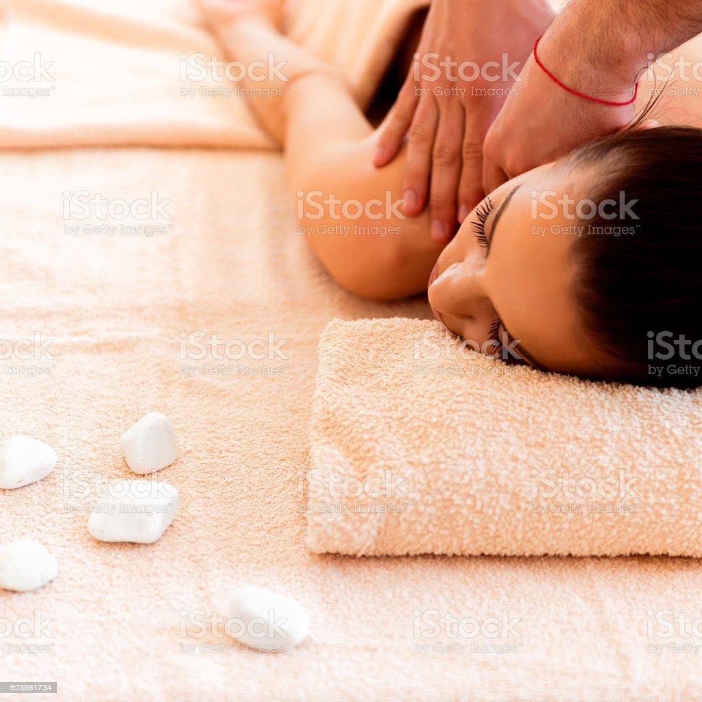 Enjoying a massage stock photo