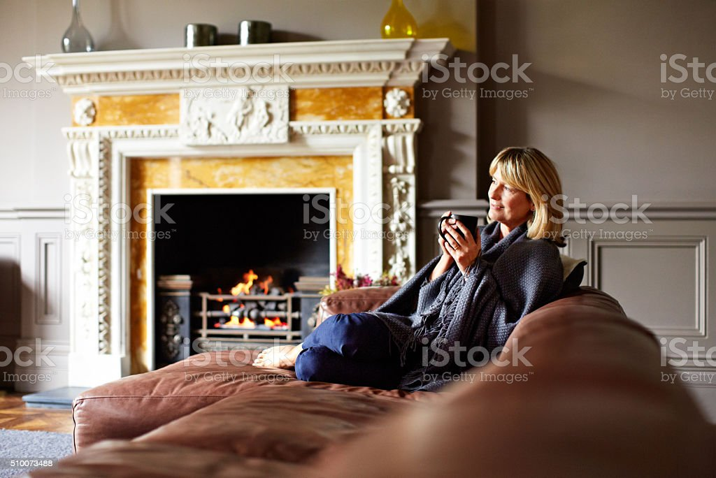 Enjoying a perfect afternoon at home stock photo
