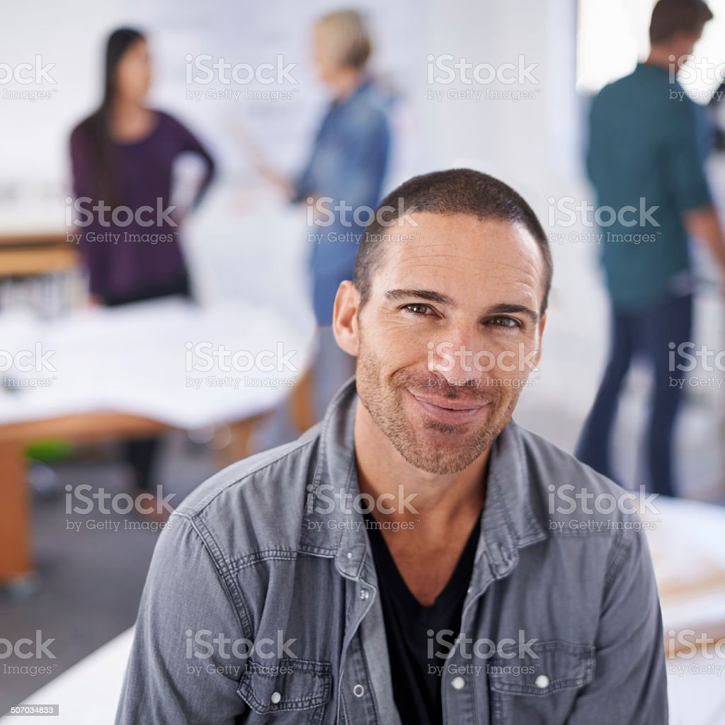 Enjoying a quiet day in the office royalty-free stock photo