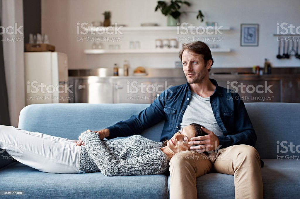 Enjoying a quiet moment together stock photo
