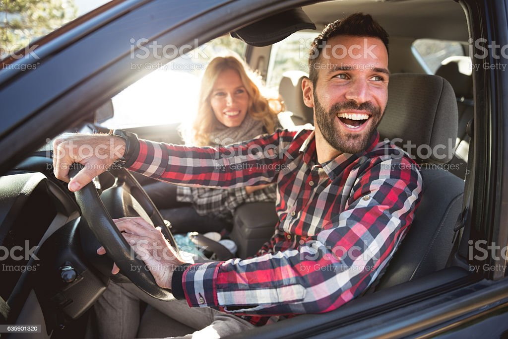 Enjoying a road trip stock photo