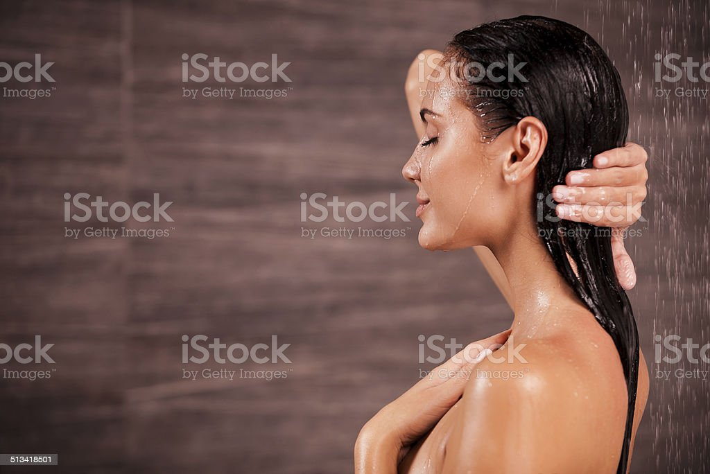 Enjoying a shower. stock photo