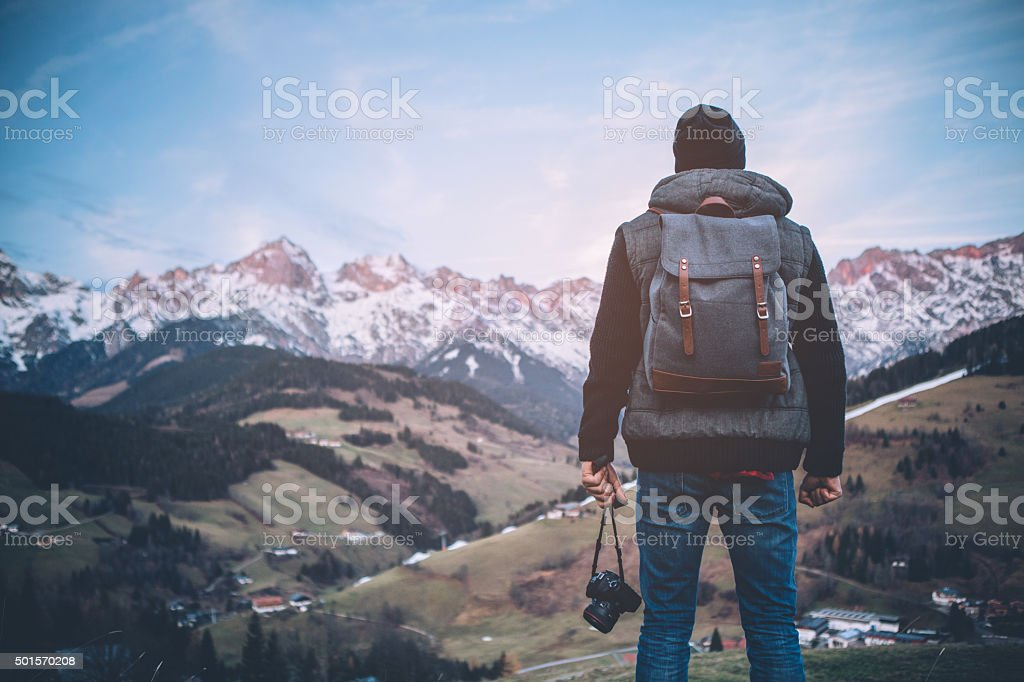 Enjoying a solitary walk stock photo