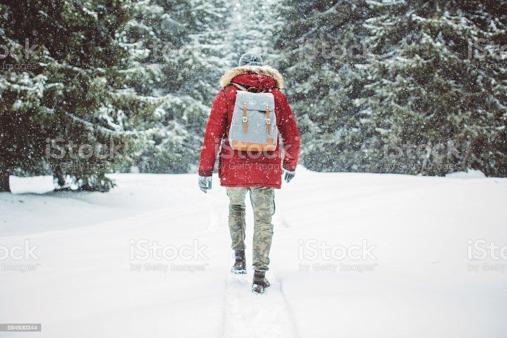 Enjoying a solitary walk stock photo