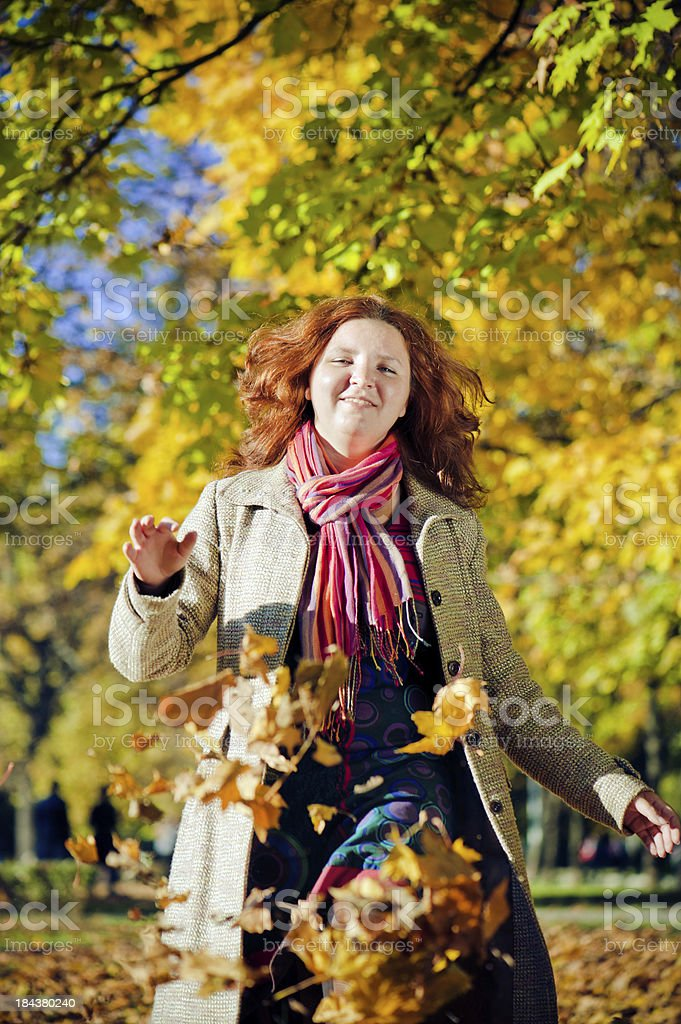 Enjoying autumn royalty-free stock photo