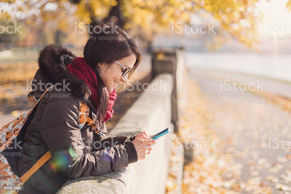 Enjoying autumn stock photo