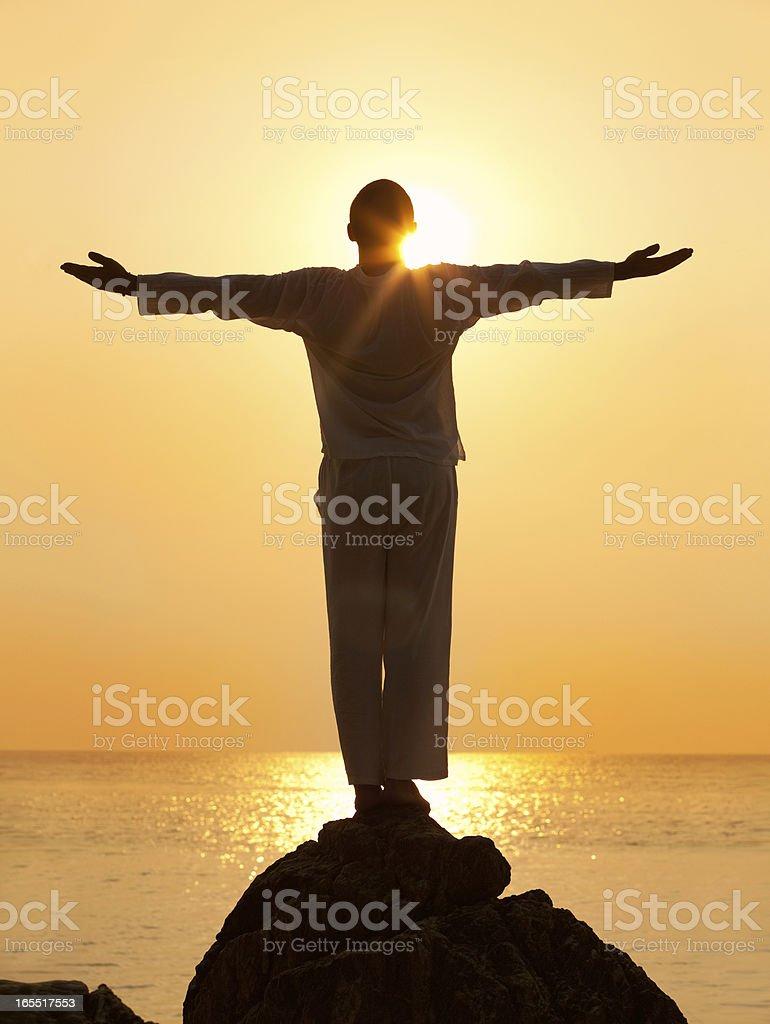 Enjoying Beautiful Sunset royalty-free stock photo