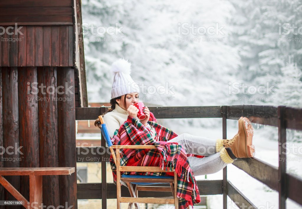 Enjoying beautiful winter day stock photo
