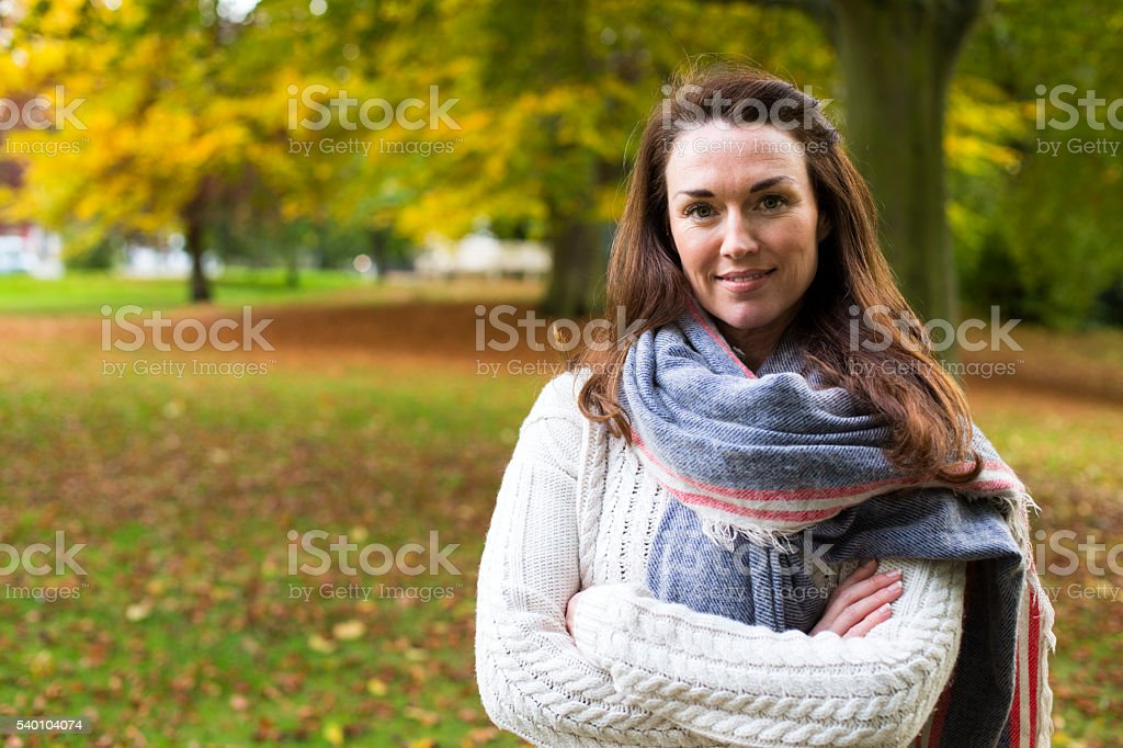 Enjoying being out in Autumn stock photo