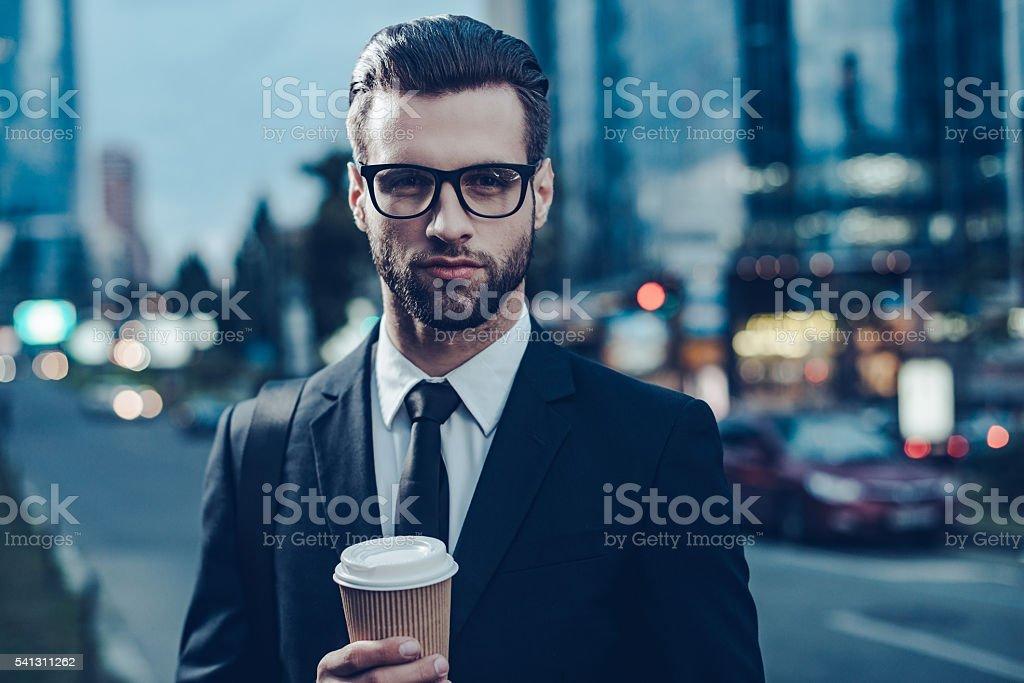 Enjoying best coffee in city. stock photo