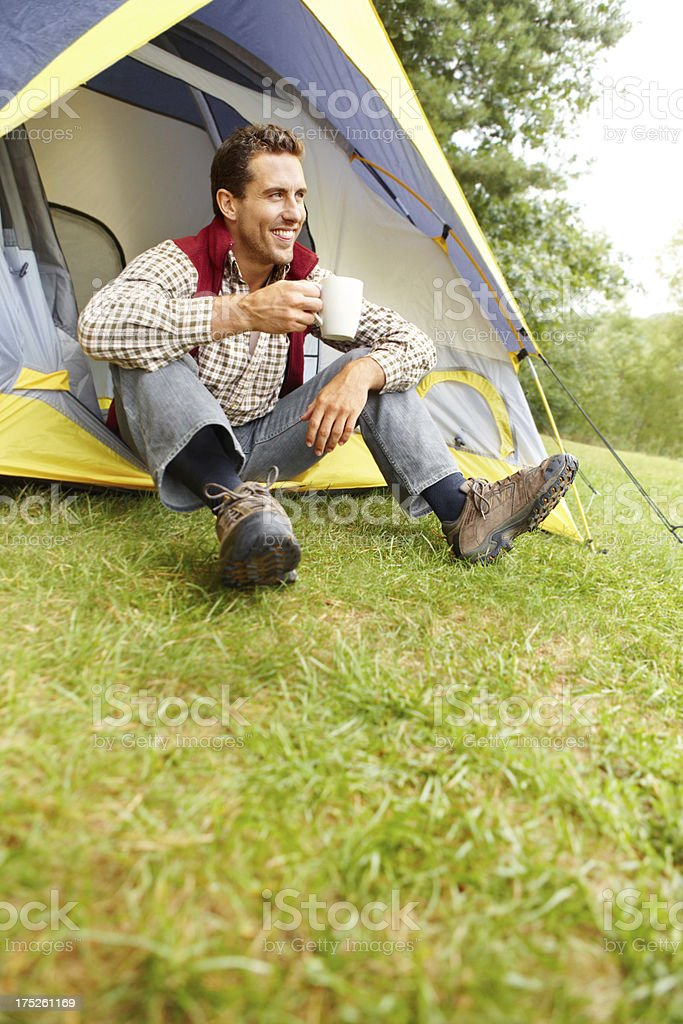 Enjoying both the coffee and nature royalty-free stock photo