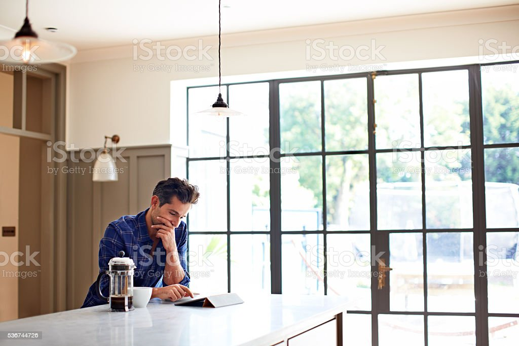 Enjoying breakfast in the morning stock photo