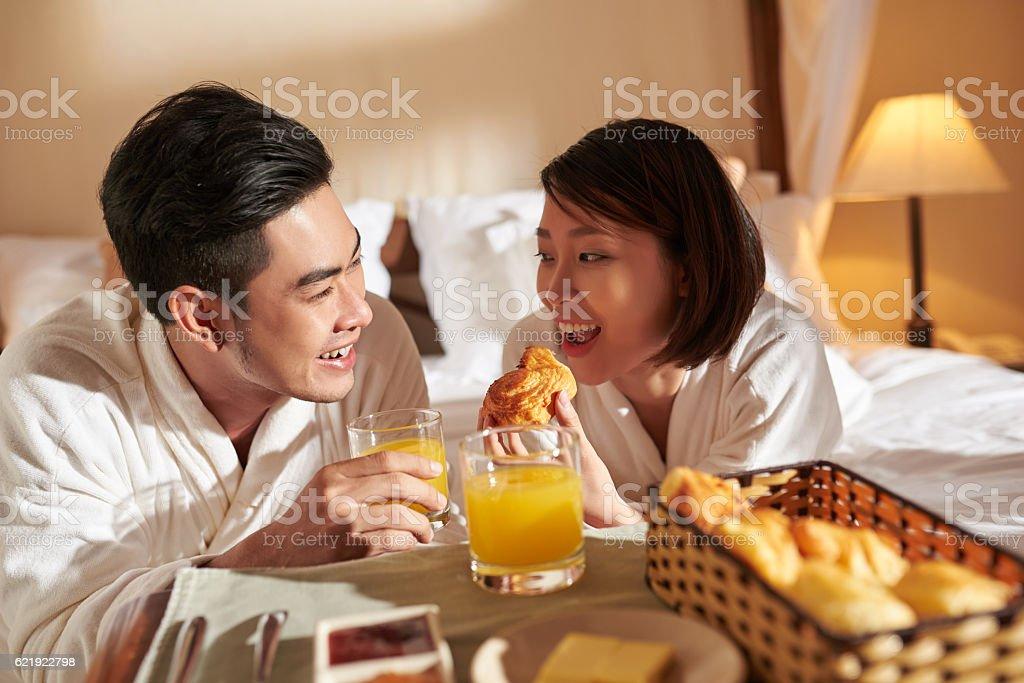 Enjoying breakfast stock photo