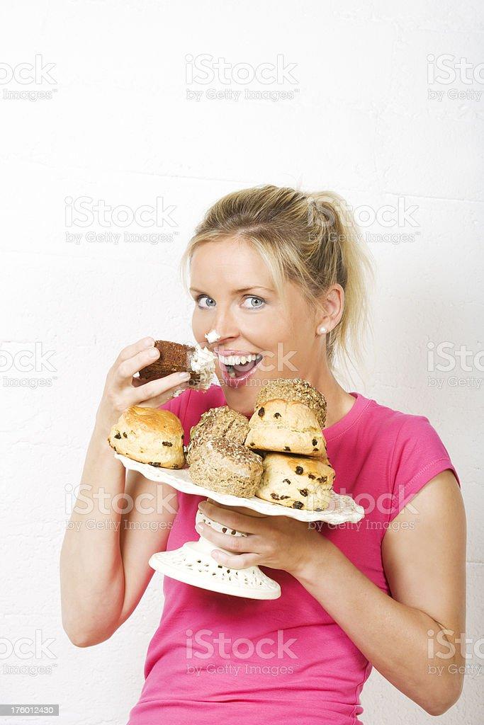 enjoying cake and scones royalty-free stock photo