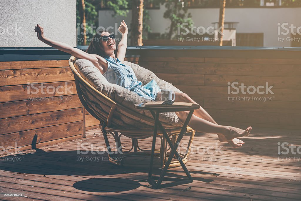 Enjoying carefree time. stock photo