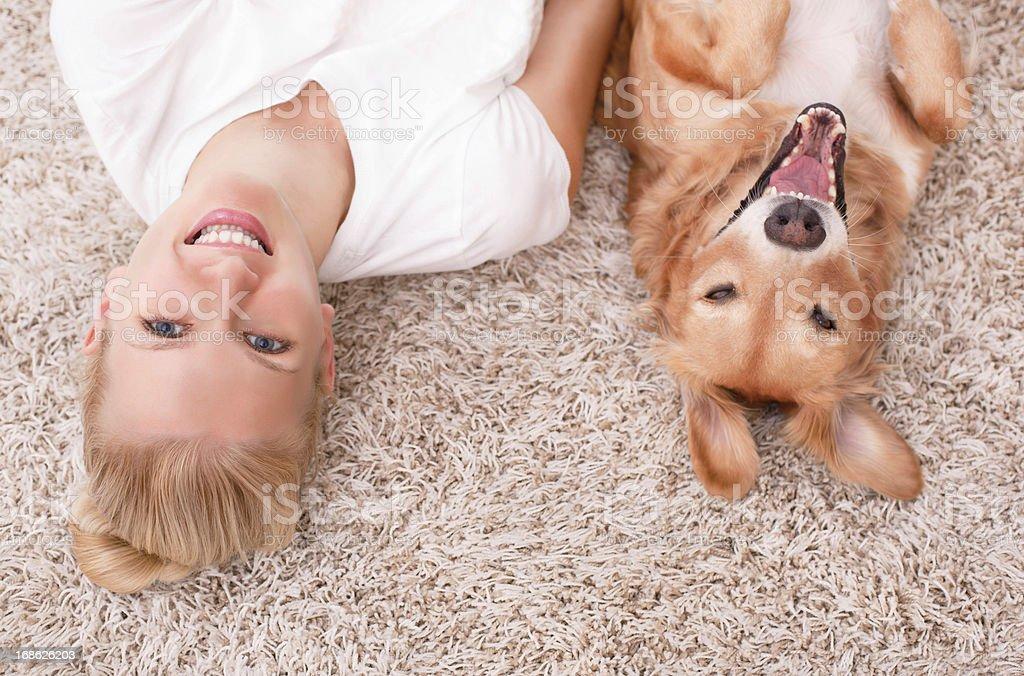 Enjoying carpet with dog. stock photo