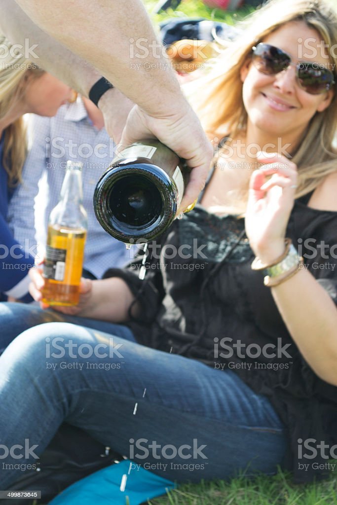 Enjoying Champagne stock photo