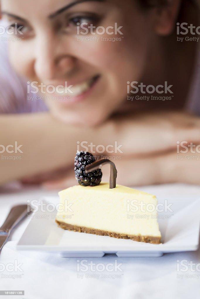 Enjoying Cheesecake royalty-free stock photo