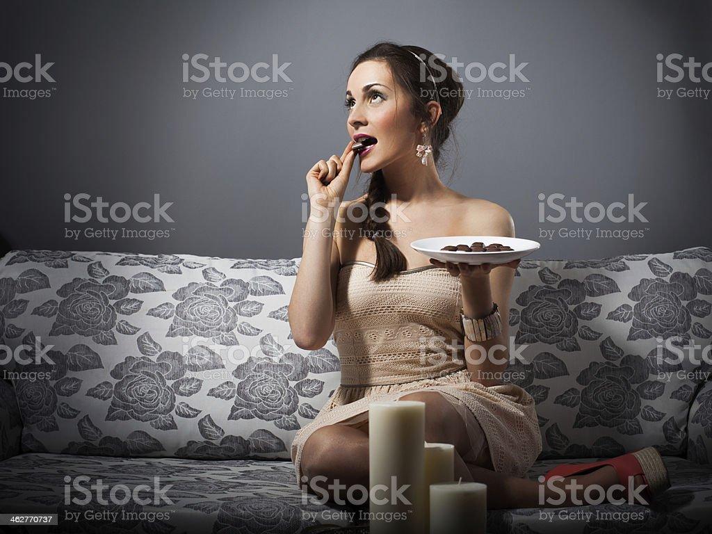 Enjoying chocolate stock photo