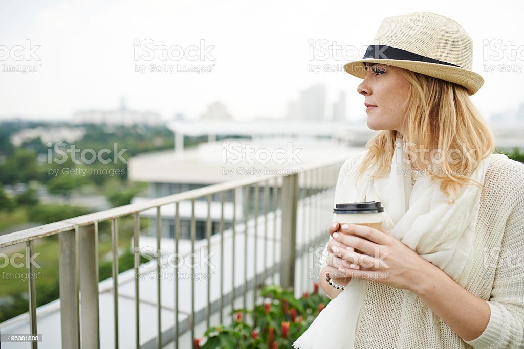 Enjoying city view stock photo