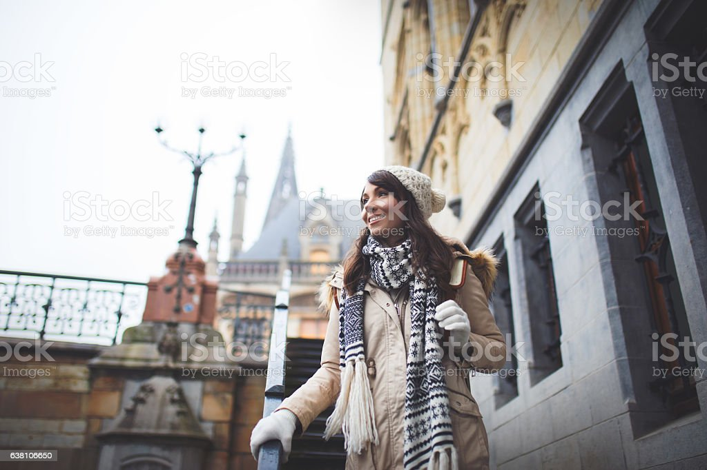 Enjoying city walk at Belgium stock photo
