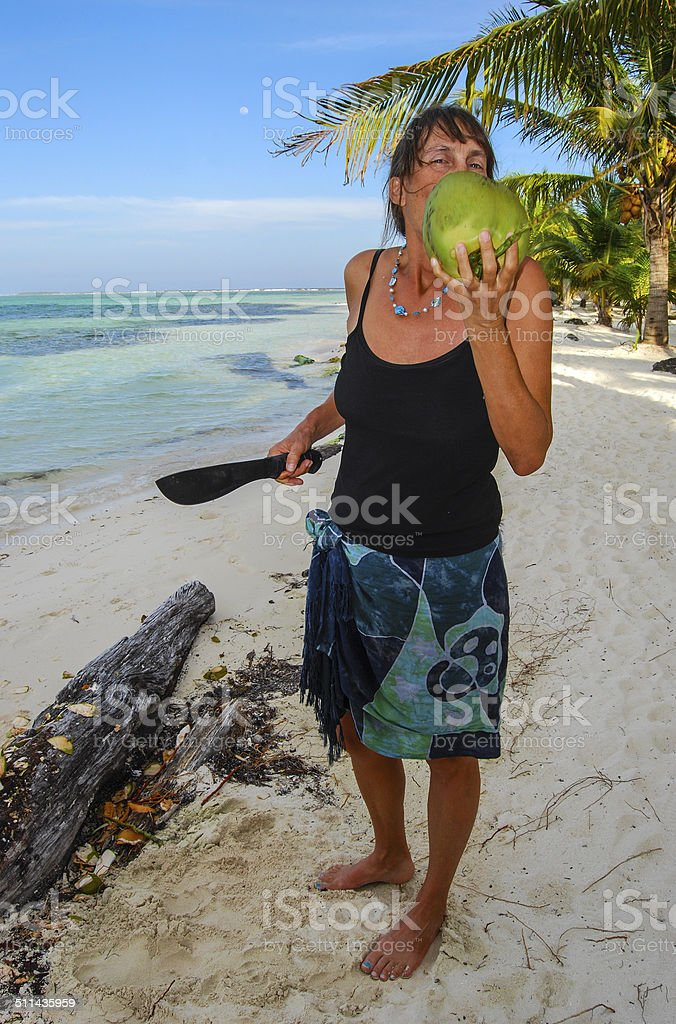 Enjoying Coconut 2 stock photo