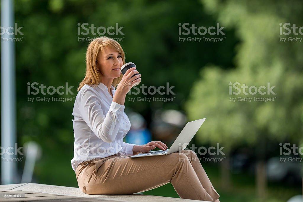 Enjoying coffee break stock photo