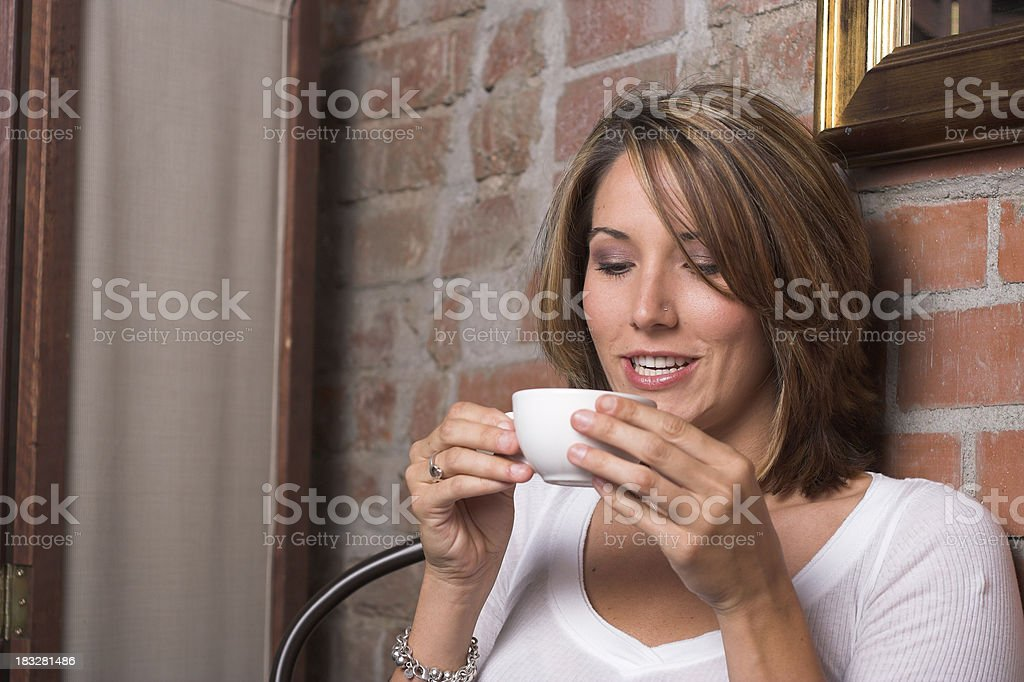 Enjoying Coffee stock photo