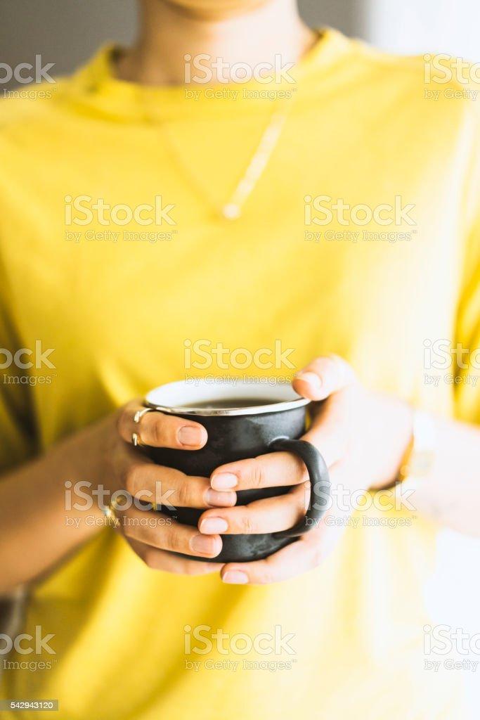 Enjoying cup of coffee stock photo